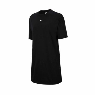 Nike 洋裝 NSW Essential Dress 女款 運動休閒 長版 基本款 圓領 穿搭 裙子 黑 白 CJ2243010