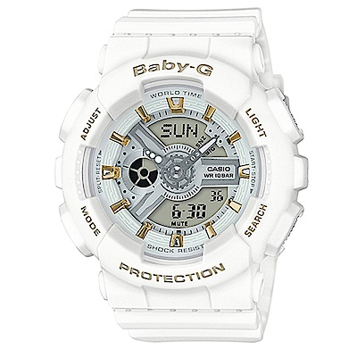 BABY-G 金時尚搖滾隨性風格概念休閒錶(BA-110GA-7A1)金時刻X白43.4m