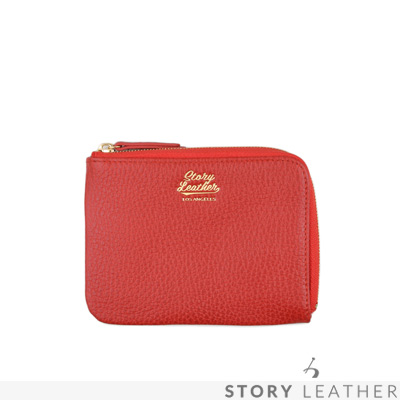 STORYLEATHER Style 91023 牛皮零錢包 荔枝紋紅