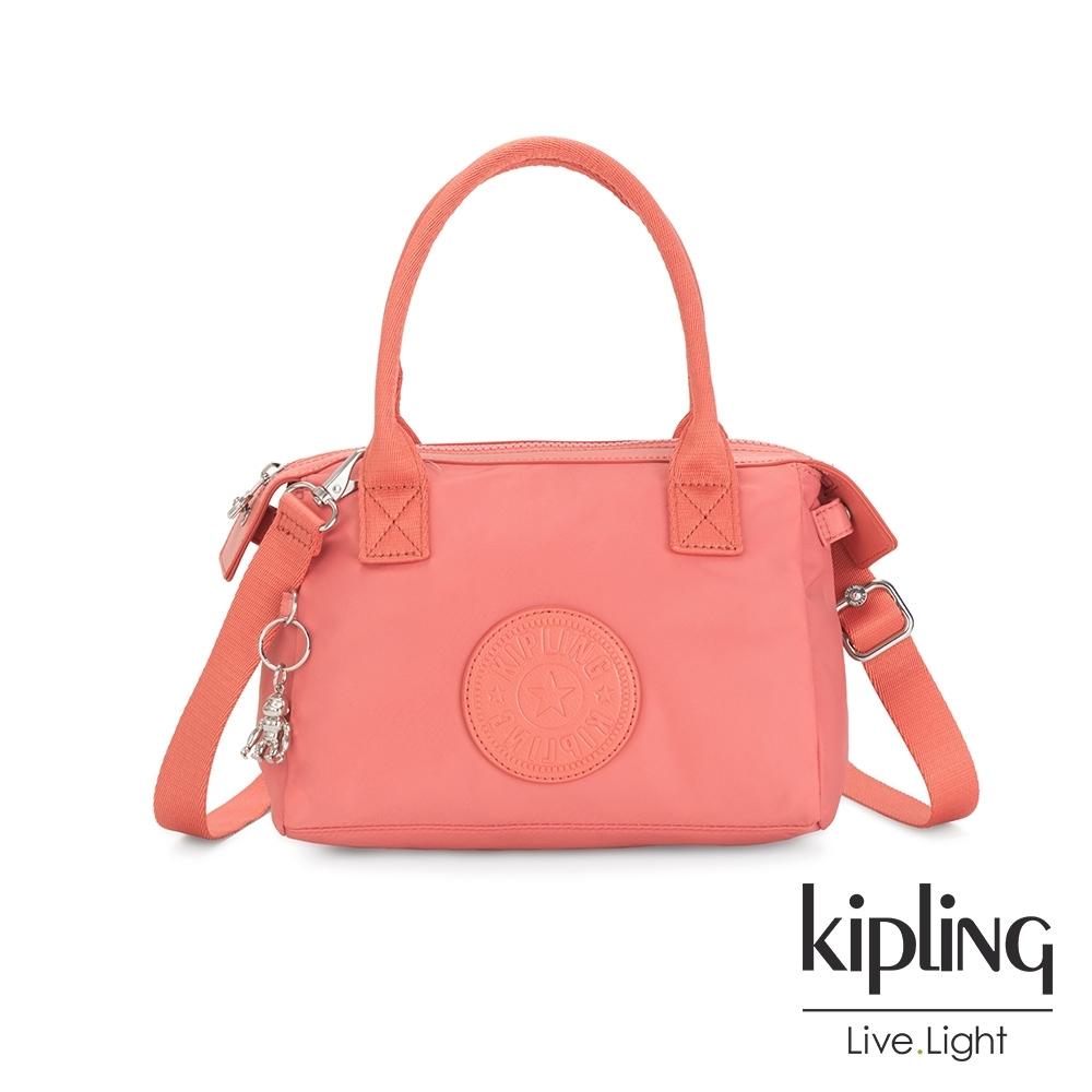 Kipling 粉嫩珊瑚橘小巧手提肩背包-LERIA