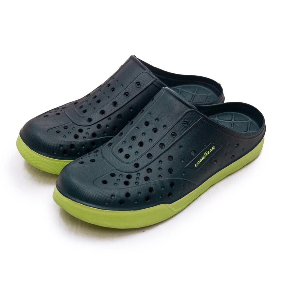 GOODYEAR 固特異排水透氣輕便懶人水陸休閒洞洞涼、拖鞋 藍綠 13306