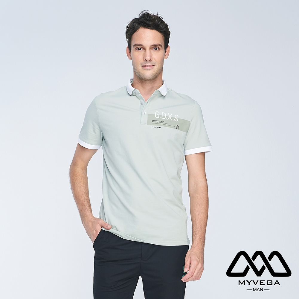 MYVEGA MAN年輕修身窄領短袖POLO衫-淺綠