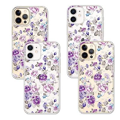 Corner4 iPhone 12全系列 奧地利彩鑽雙料手機殼-紫薔薇