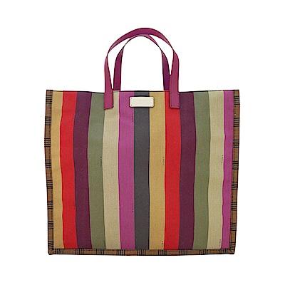Fendi 直條彩繪帆布手提包