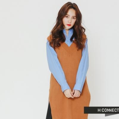 H:CONNECT 韓國品牌 女裝 - V領長版針織背心-棕(快)