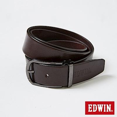 EDWIN LOGO烙印皮帶-深咖啡