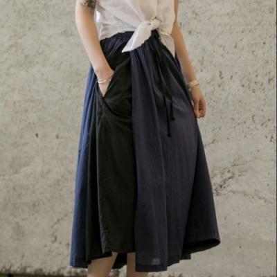 設計所在Style-日系清新復古森系休閒拼色薄長裙