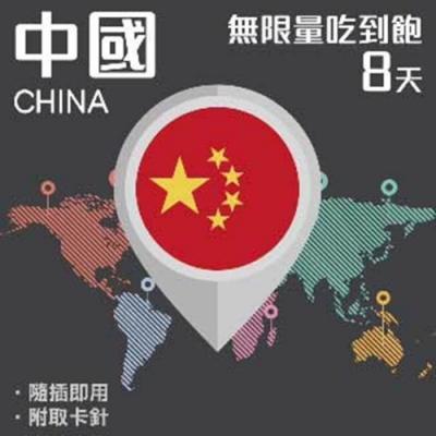 【PEKO】加送卡套 中國上網卡 8日高速4G上網 無限量吃到飽 優良品質