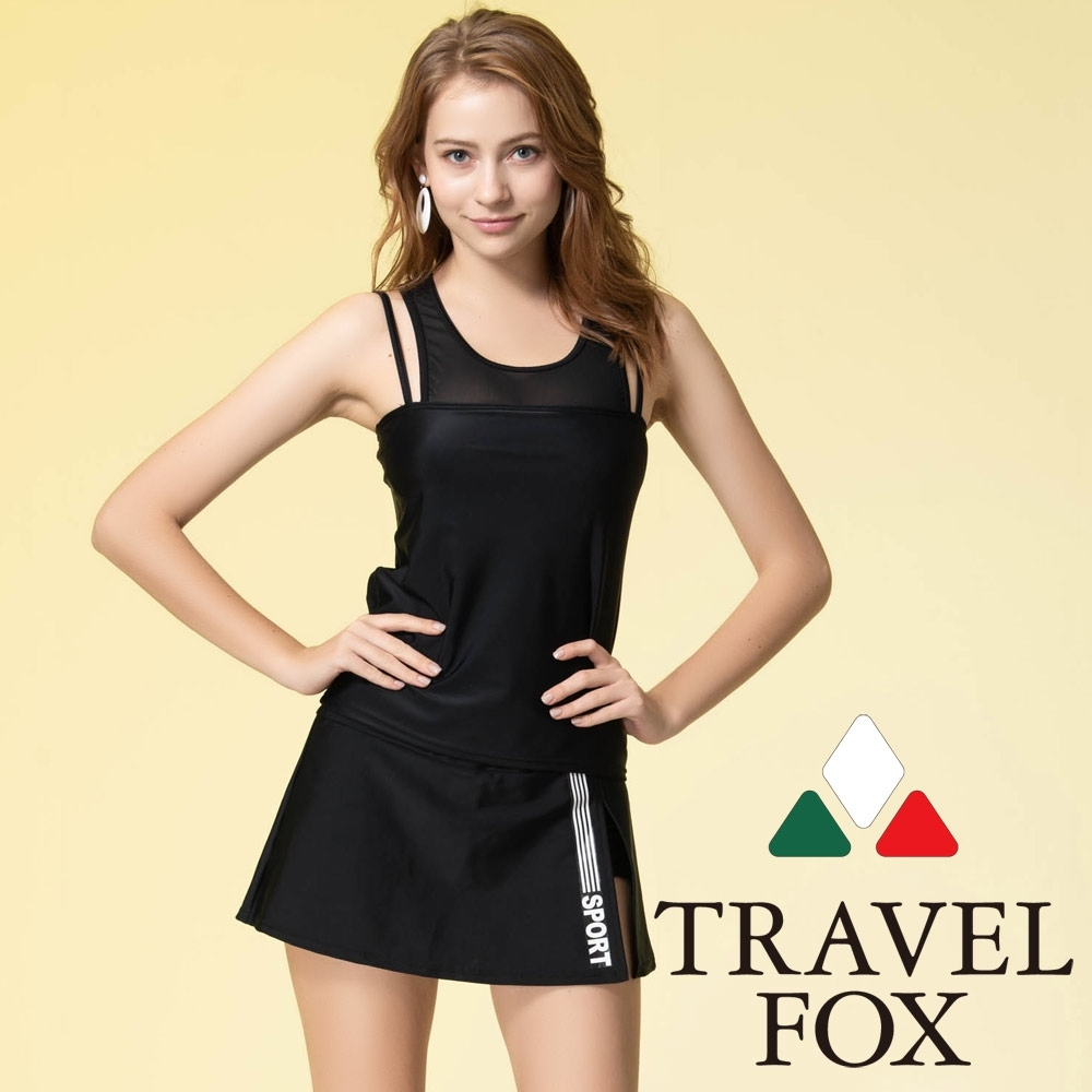 TRAVEL FOX夏之戀 大女褲連裙長版二件式