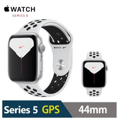 (最高回饋3.5%)Apple Watch Nike+S5 44mm 鋁金屬錶殼搭運動型錶帶(GPS版)-銀色+黑錶帶