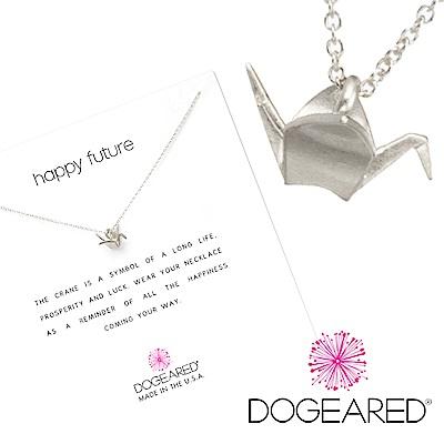Dogeared 立體千紙鶴 ORIGAMI CRANE 銀色項鍊 祈福美好未來 附原廠盒