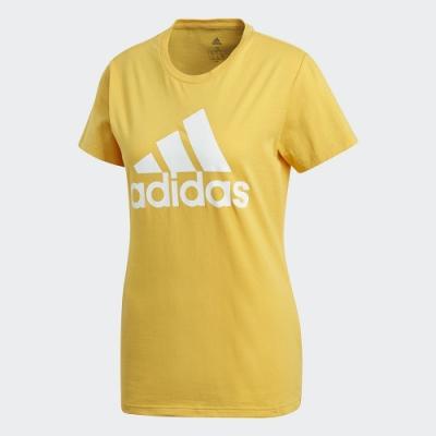 adidas 短袖上衣 運動 健身 慢跑 女款 黃 FT9684