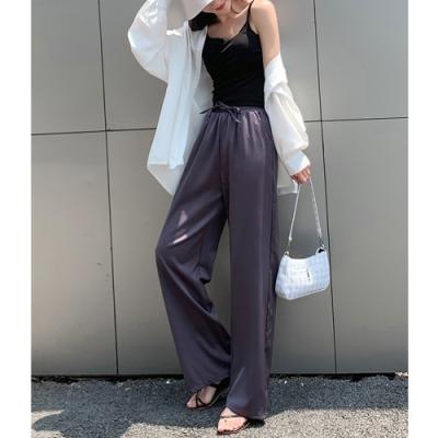 2F韓衣-簡約高腰顯瘦造型寬褲-4色-(S-2XL)