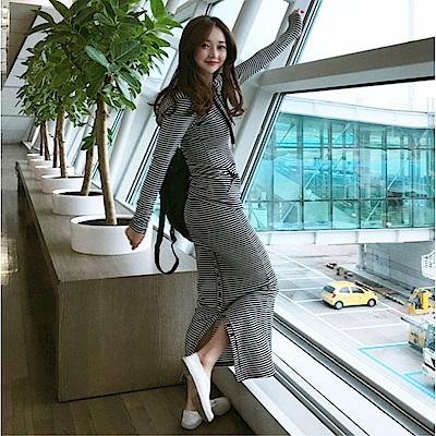 DABI 韓國學院風連帽外套包臀裙套裝長袖裙裝