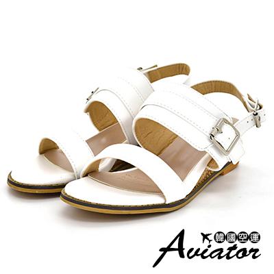 Aviator韓國空運-優雅女神雙層皮革釦帶輕量楔型厚底涼鞋-白