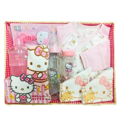 三麗鷗 Hello Kitty 凱蒂貓新生兒童玩寶寶彌月禮盒組-A款