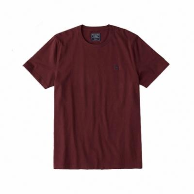麋鹿 AF A&F 經典圓領電繡麋鹿素面短袖T恤(BONL)-酒紅色