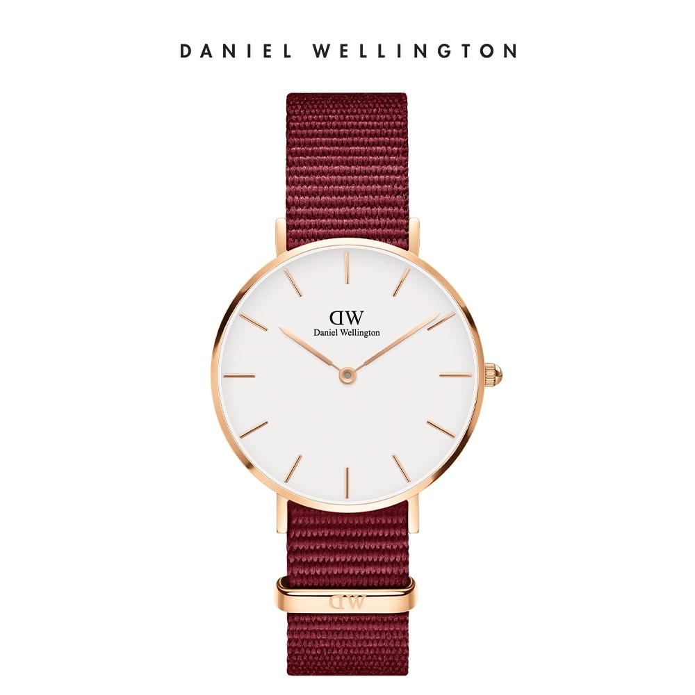 DW 手錶 32mm玫瑰金框 Petite 玫瑰紅織紋手錶