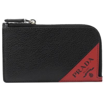 PRADA 三角LOGO牛皮L型拉鍊卡片零錢包(黑)