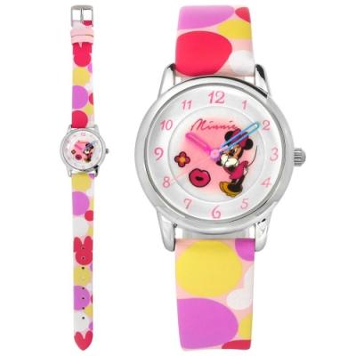 Disney 迪士尼 米奇系列 米妮面板 兒童錶 卡通錶 皮革手錶-銀x粉紫/28mm