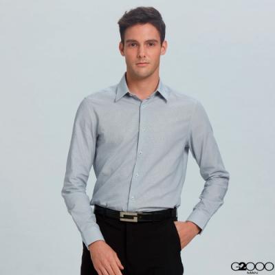 暗紋長袖上班襯衫-灰色