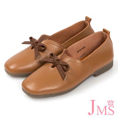 JMS-舒適簡約蝴蝶結牛皮平底休閒鞋-棕色