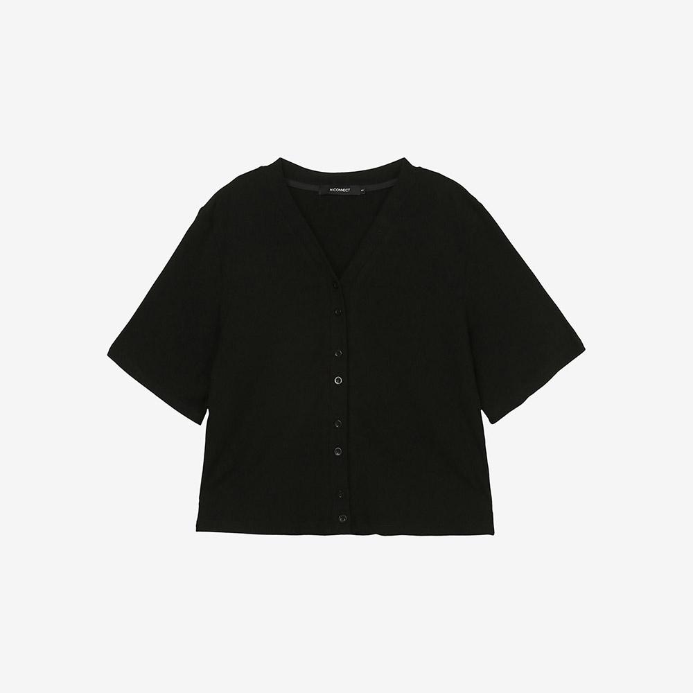 H-CONNECT-女裝 -嫘縈親膚純色坑條上衣-黑色 @ Y!購物