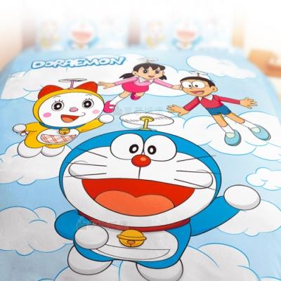 享夢城堡 雙人薄被套6x7-哆啦A夢DORAEMON 飛向天空-藍