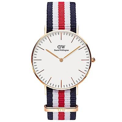DW手錶 官方旗艦店 36mm玫瑰金框 Classic 經典藍紅尼龍帆布