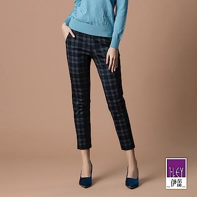 ILEY伊蕾 時尚感腰帶裝飾格紋老爺褲(藍)