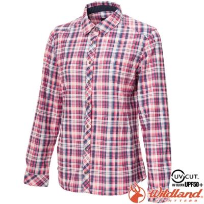 Wildland 荒野 0A72201-116丁寧藍 女彈性針織格紋保暖襯衫