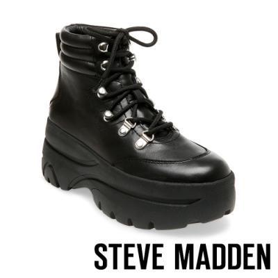 STEVE MADDEN-HUSKY 運動系增高素面高筒綁帶靴-黑色
