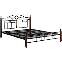 拉克特雙色5尺雙人實木鋼床