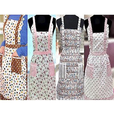 BD002韓版印花圍裙-雙口袋圍裙蕾絲圍裙雙層內裡防水圍裙工作圍裙