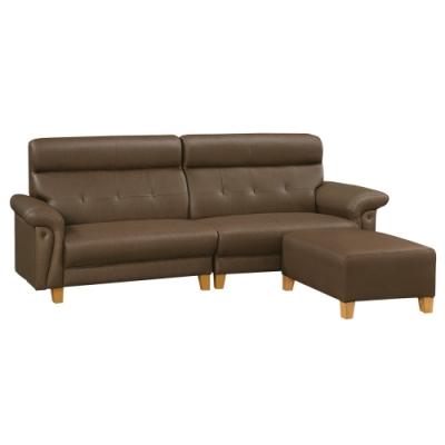 綠活居 艾凱多時尚咖耐磨皮革L型沙發組合(四人座+椅凳)-250x170x105cm免組