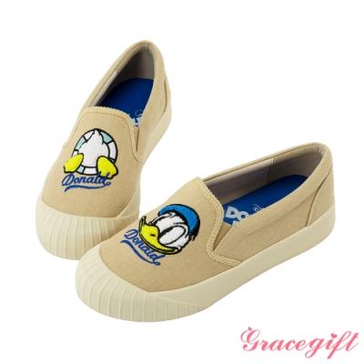 Disney collection by gracegift不對稱電繡平底鞋 卡奇