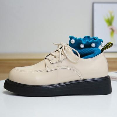 韓國KW美鞋館 大氣歐美風格厚底松糕鞋-米色