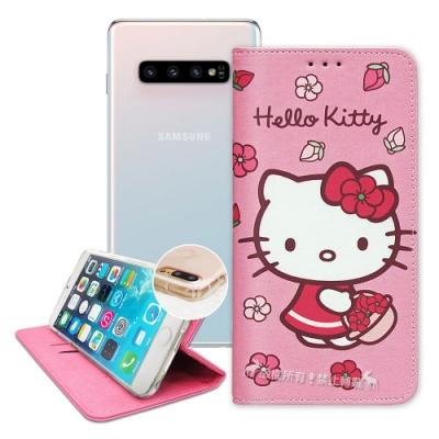 三麗鷗授權 Hello Kitty 三星 Galaxy S10 櫻花吊繩款彩繪側掀皮套