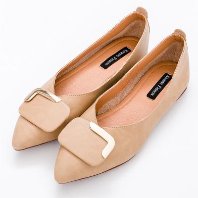 River&Moon中大尺碼-方扣超纖Q軟橡膠平底尖頭鞋-棕