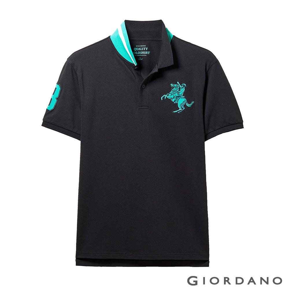 GIORDANO 男裝經典拿破崙撞色刺繡彈力萊卡POLO衫-09 標誌黑