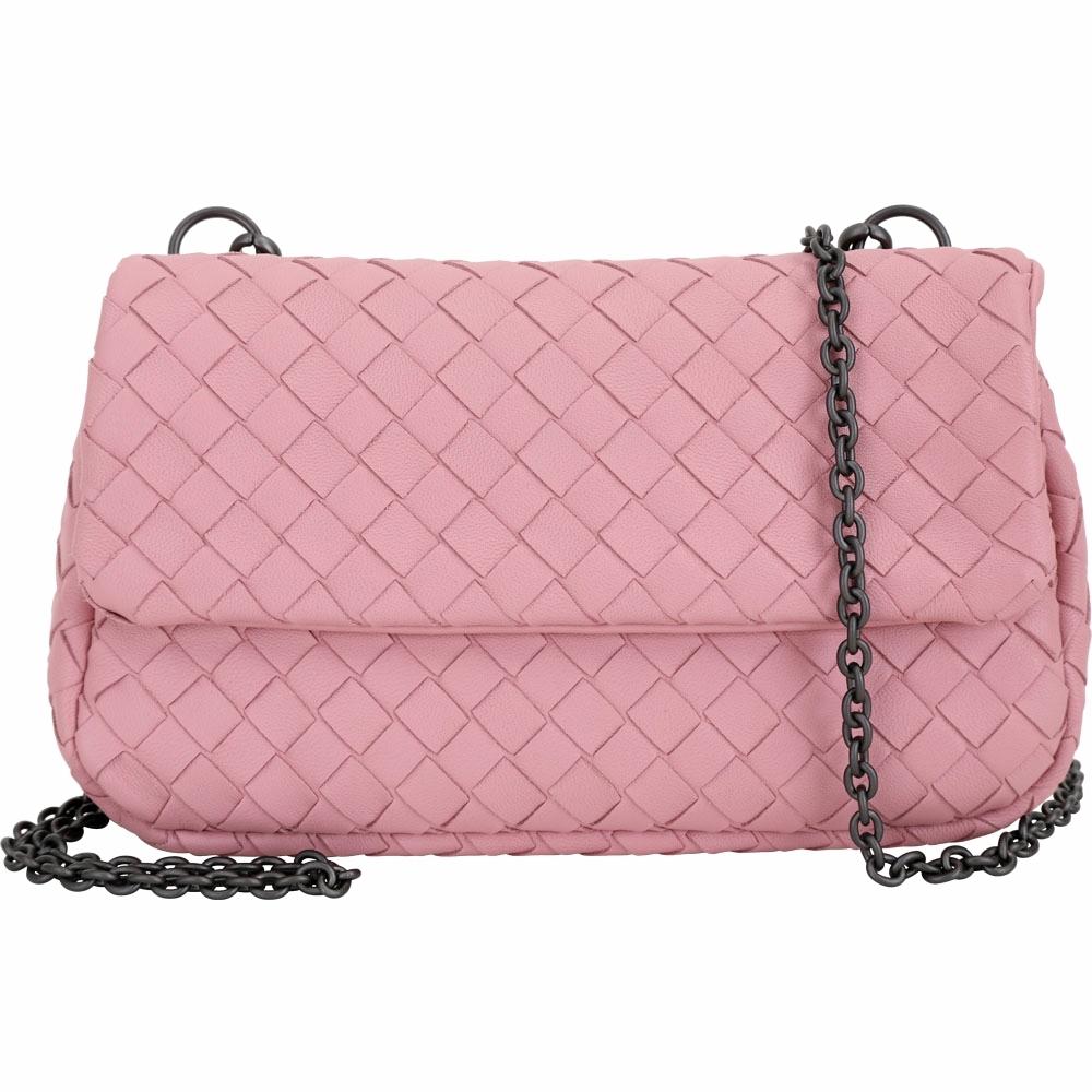 BOTTEGA VENETA NAPPA 小羊皮編織迷你鍊帶包(粉色)