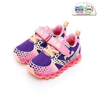 FILA KIDS 小童電燈TPR慢跑鞋-紫粉 7-J452T-956
