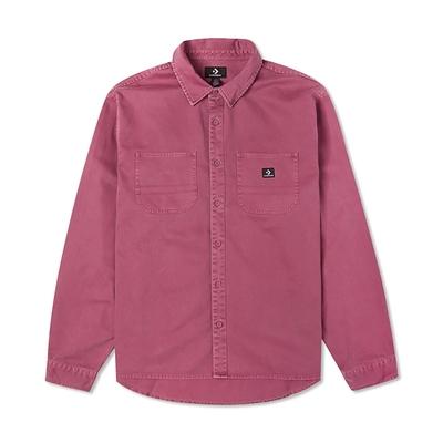 CONVERSE 休閒外套 男款 襯衫外套 WOVEN BUTTON DOWN 莓果色 10022012-A04