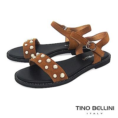 Tino Bellini 綺麗華美鑲嵌珍珠平底涼鞋 _ 棕