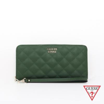 GUESS-女包-時尚菱格壓紋長夾-綠