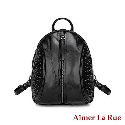 Aimer La Rue 閨密出遊羊皮後背包-黑色(快)