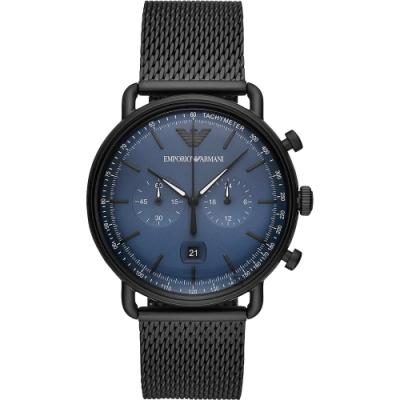 Emporio Armani 亞曼尼計時米蘭帶手錶(AR11201)-藍x黑/43mm