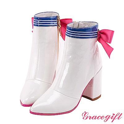 Grace gift-美少女戰士漆皮水手蝴蝶結短靴 白