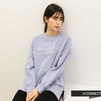 H:CONNECT 韓國品牌 女裝 -馬卡龍色系繡字大學T-淺藍色