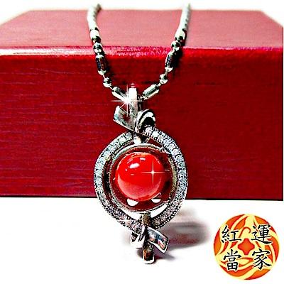 紅運當家 超稀有 優質天然紅珊瑚圓珠 + 水鑽 項鍊 (圓珠直徑 7mm)